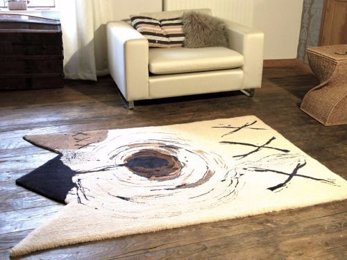 Abstract XXX rug in navy and coffee gestural lines on cream background